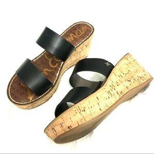 Sam Edelman Black Wedge Sandals. Size 5